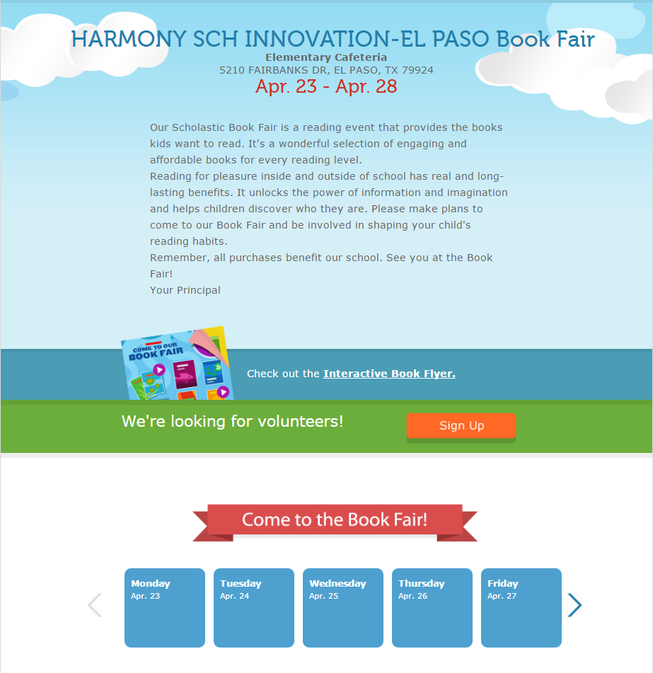A screenshot of the Scholastic Book Fair page for Harmony School of Innovation at El Paso