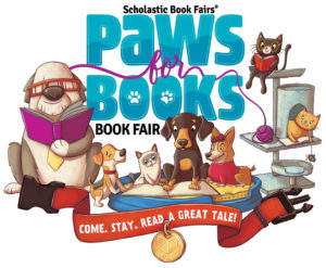 An Image of the Scholastic Book Fairs Spring 2018 theme Paws for Books depicting pets reading books.