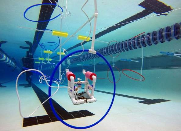 An image of a SeaPerch underwater Remotely Operated Vehicle or ROV going through an underwater obstacle course