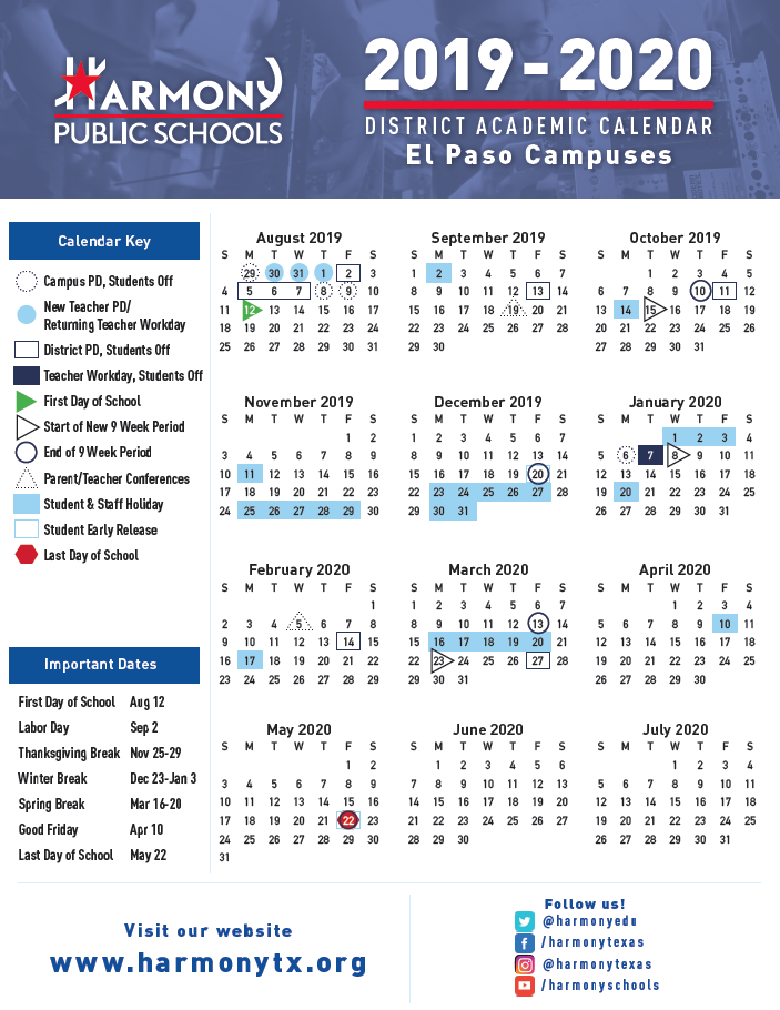 Schedule Calendar 2020 Academic Calendar & Bell Schedule – Harmony School of Innovation