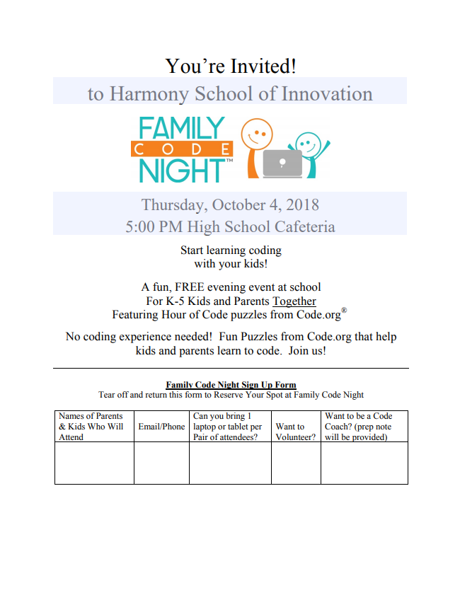An image of the family code night flier