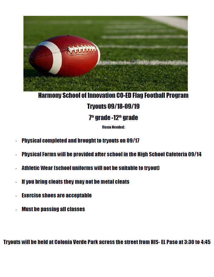 An image of the HSI El Paso Flag Football Flyer