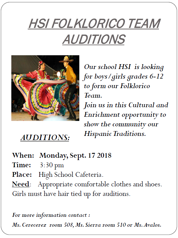 An image of the HSI El Paso Folklorico Audition Flier