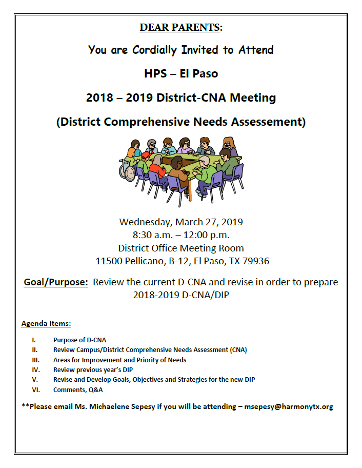 District Comprehensive Needs Assessment Harmony School Of Innovation El Paso The discrepancy between the current condition and wanted condition must be measured to appropriately identify the need. district comprehensive needs assessment