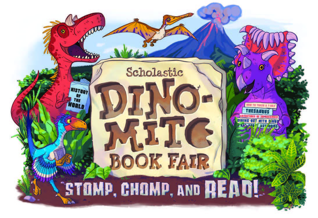 An image of the 2019 Scholastic Book Fair theme named Dino-Mite