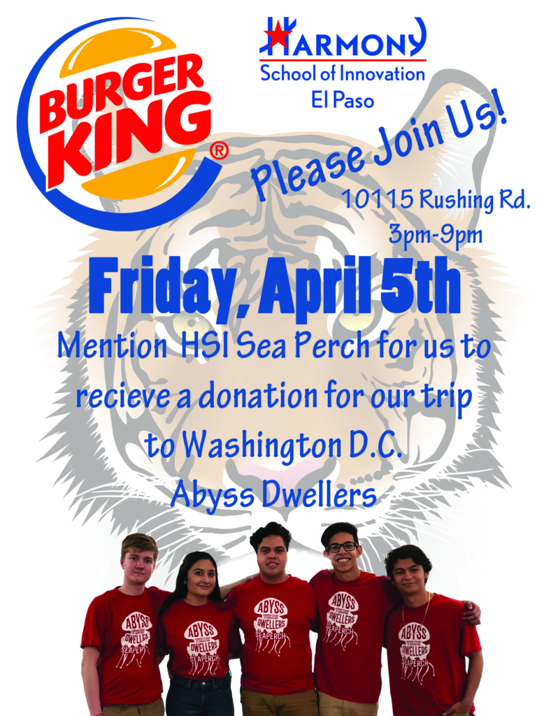 An image of the SeaPerch Team Abyss Dwellers Fundraiser at Burger King