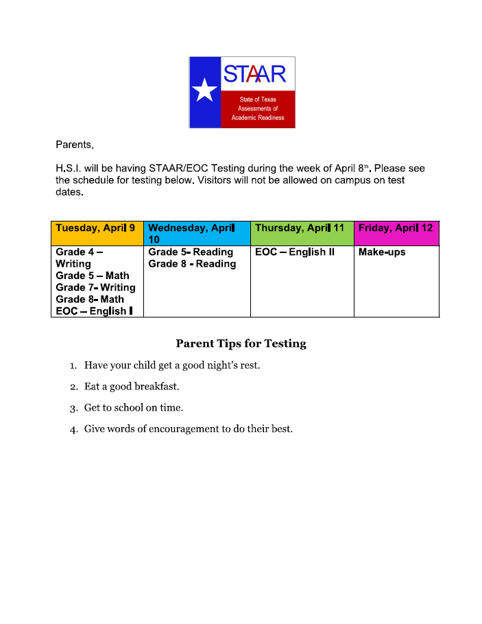 An image of the STAAR testing schedule.