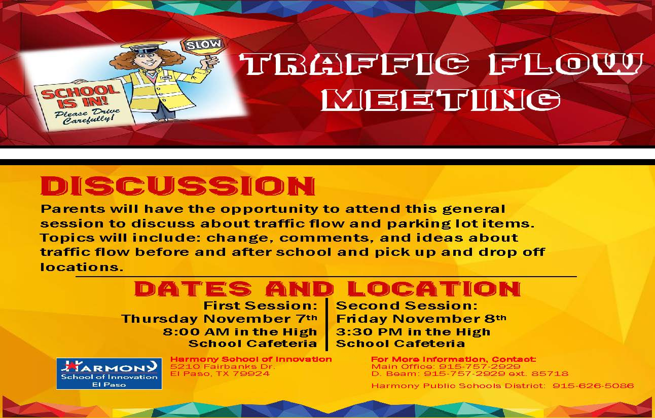 An image of the Traffic Flow Meeting flier for Thursday, November, 7th at 8:00 am in the High School Cafeteria