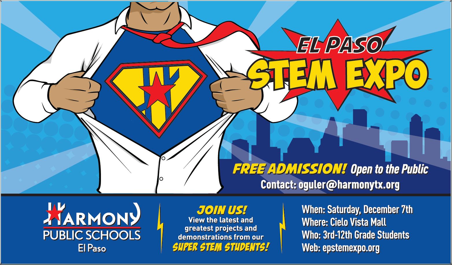 An image of the STEM Expo flier on Saturday, December 7th, at the Cielo Vista Mall.