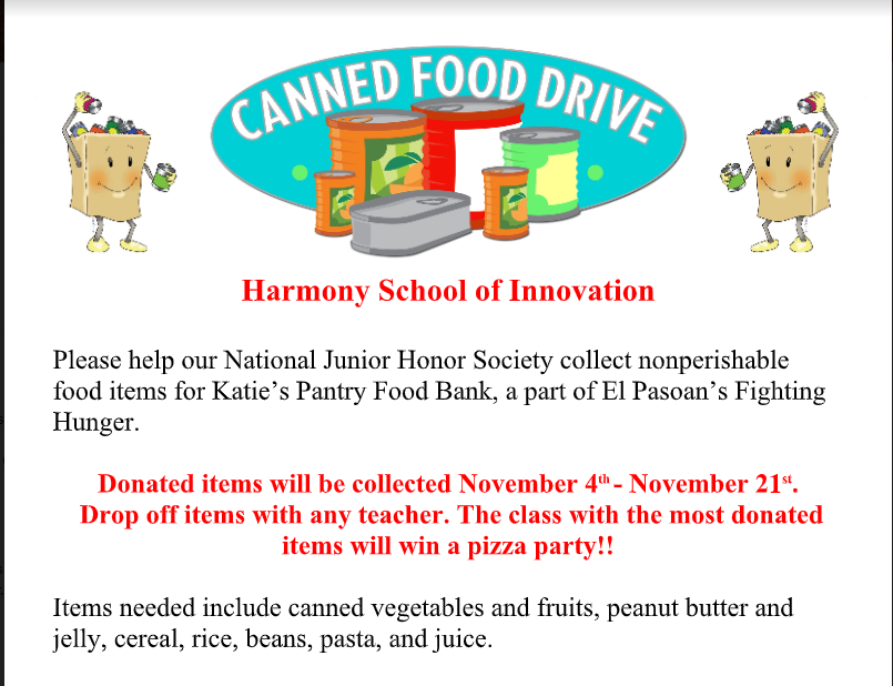 An Image of the Canned Food Drive flier being collected from November 4th - 21st