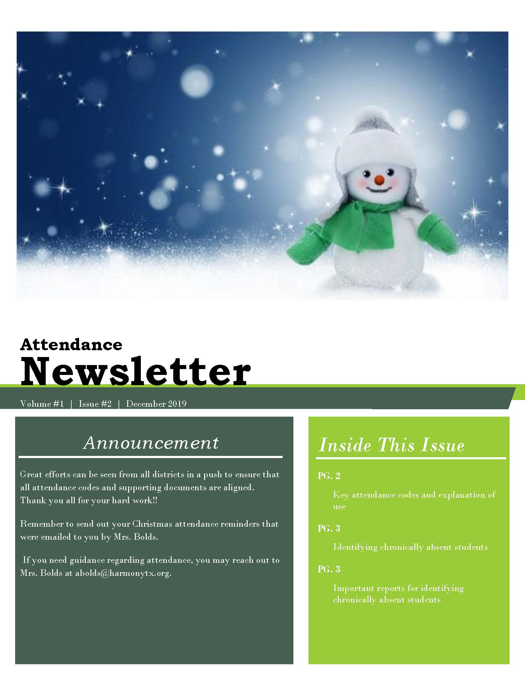 An image of page 1 of the Attendance Newsletter for December 2019