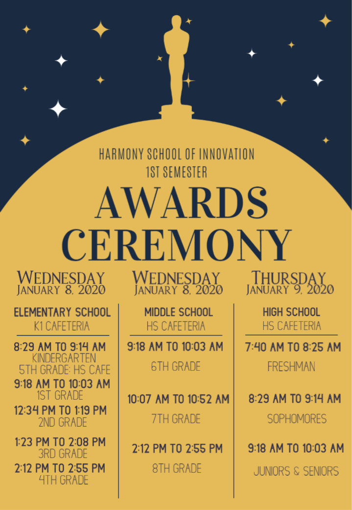An image of the awards ceremony flier for January 8th & 9th, 2020.