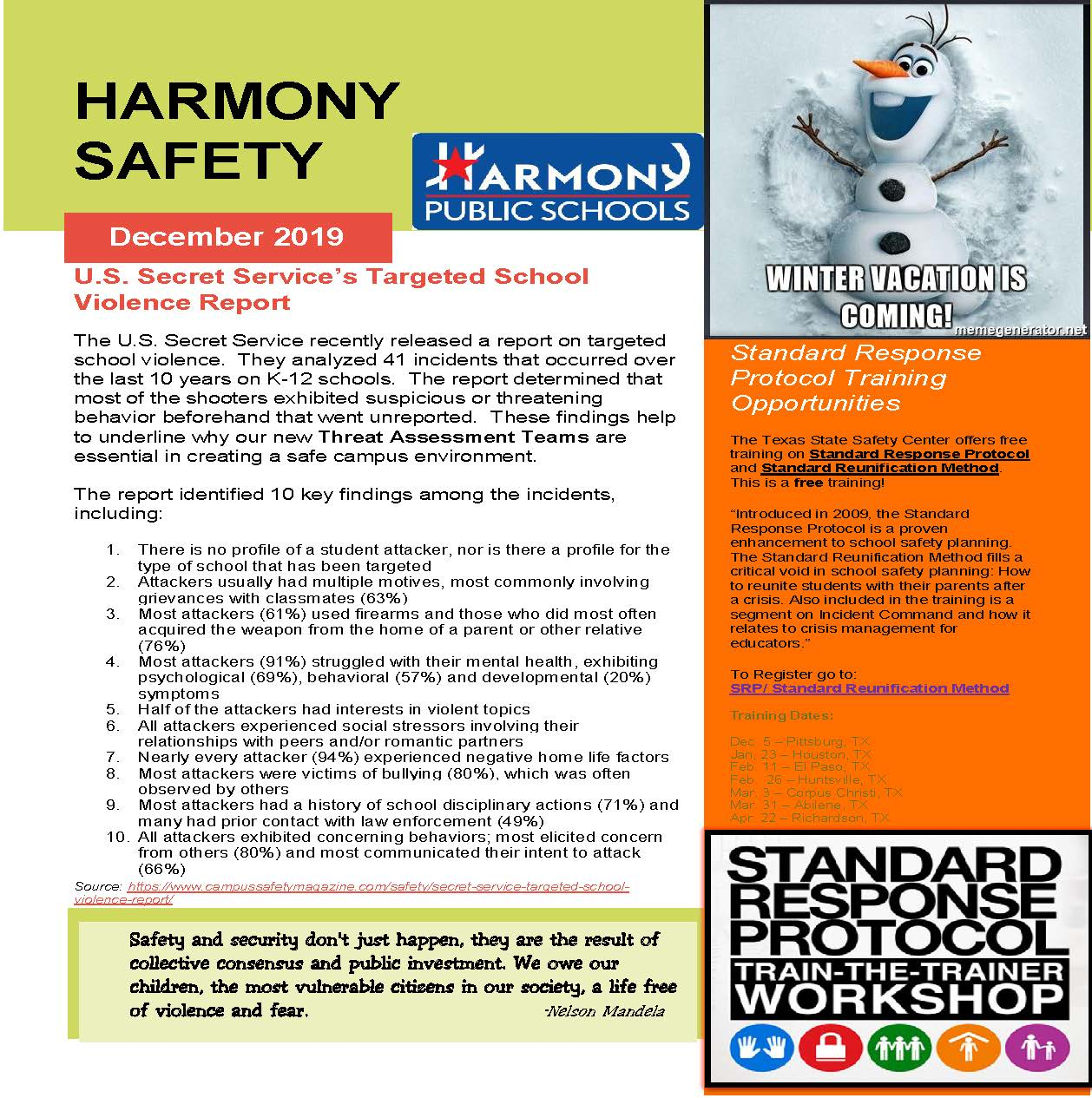 An image of page two of the Harmony Safety Newsletter for December 2019