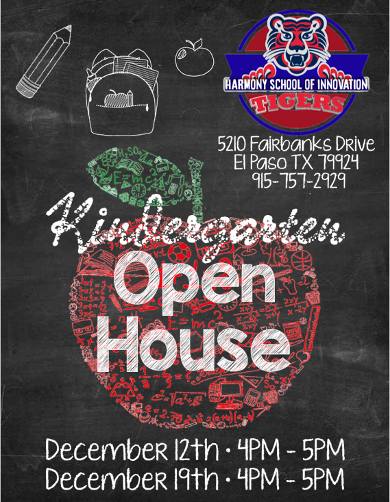 An image of the open house flier for December 12th & 19th from 4-5 PM.