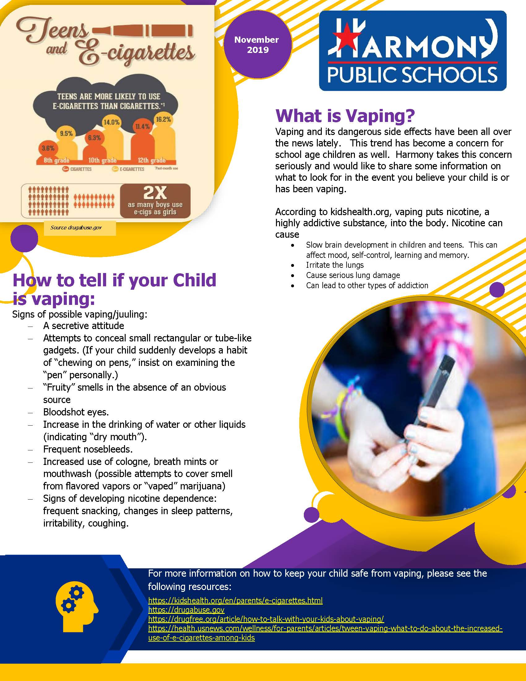 An image of page one of the Parent Vaping Newsletter for November 2019