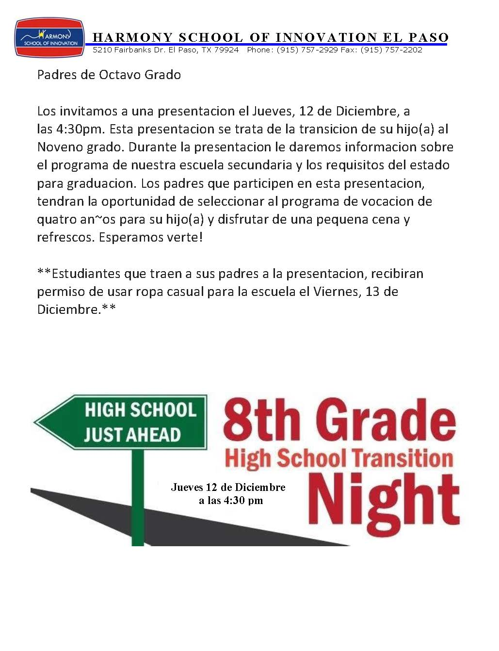 An image of the High School Transition Presentation Flier for Thursday, December 12th, at 4:30pm.