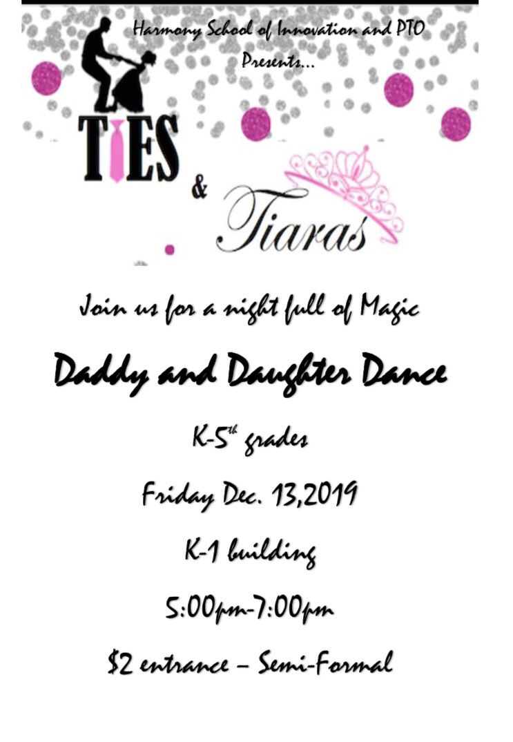 An image of the Daddy and Daughter Dance flier for Friday, December 13, 2019 from 5-7:00 PM in the K-1 Building