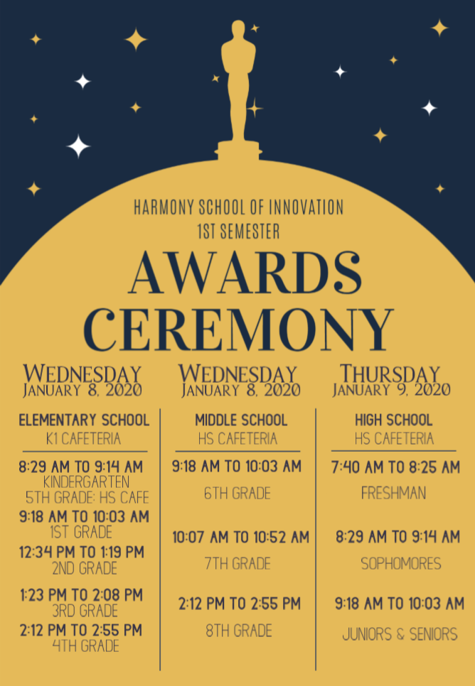 An image of the 1st Semester Awards Ceremony flier held on various dates and times.