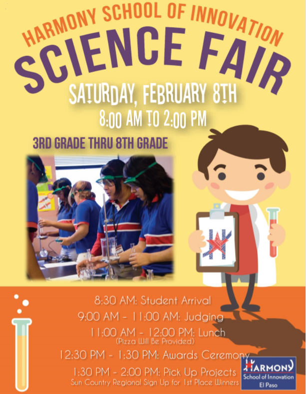 An image of the HSI Science Fair flyer on Saturday, February 8th, from 8 am to 2 pm.