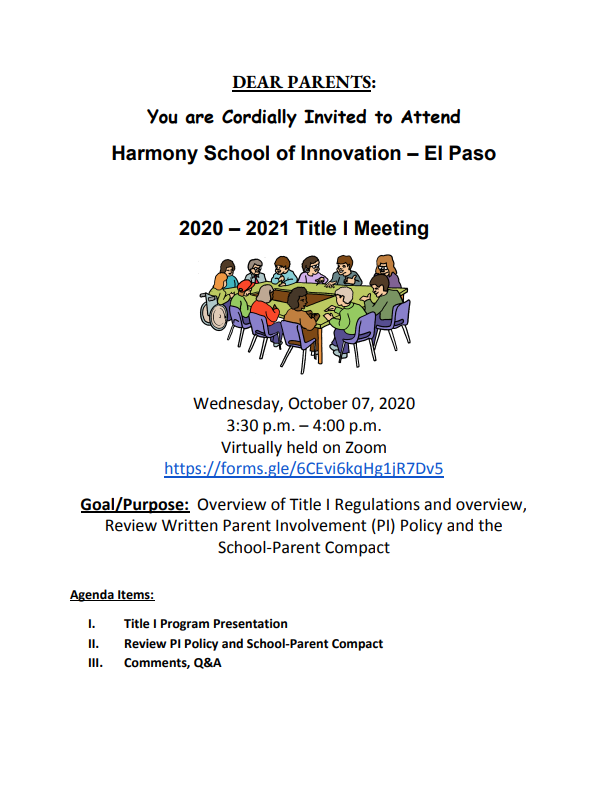 An image of the 2020-2021 HSI El Paso Title I Meeting flyer to be held on Wednesday, October, 7 2020 from 3:30-4:00 pm virtually through zoom.