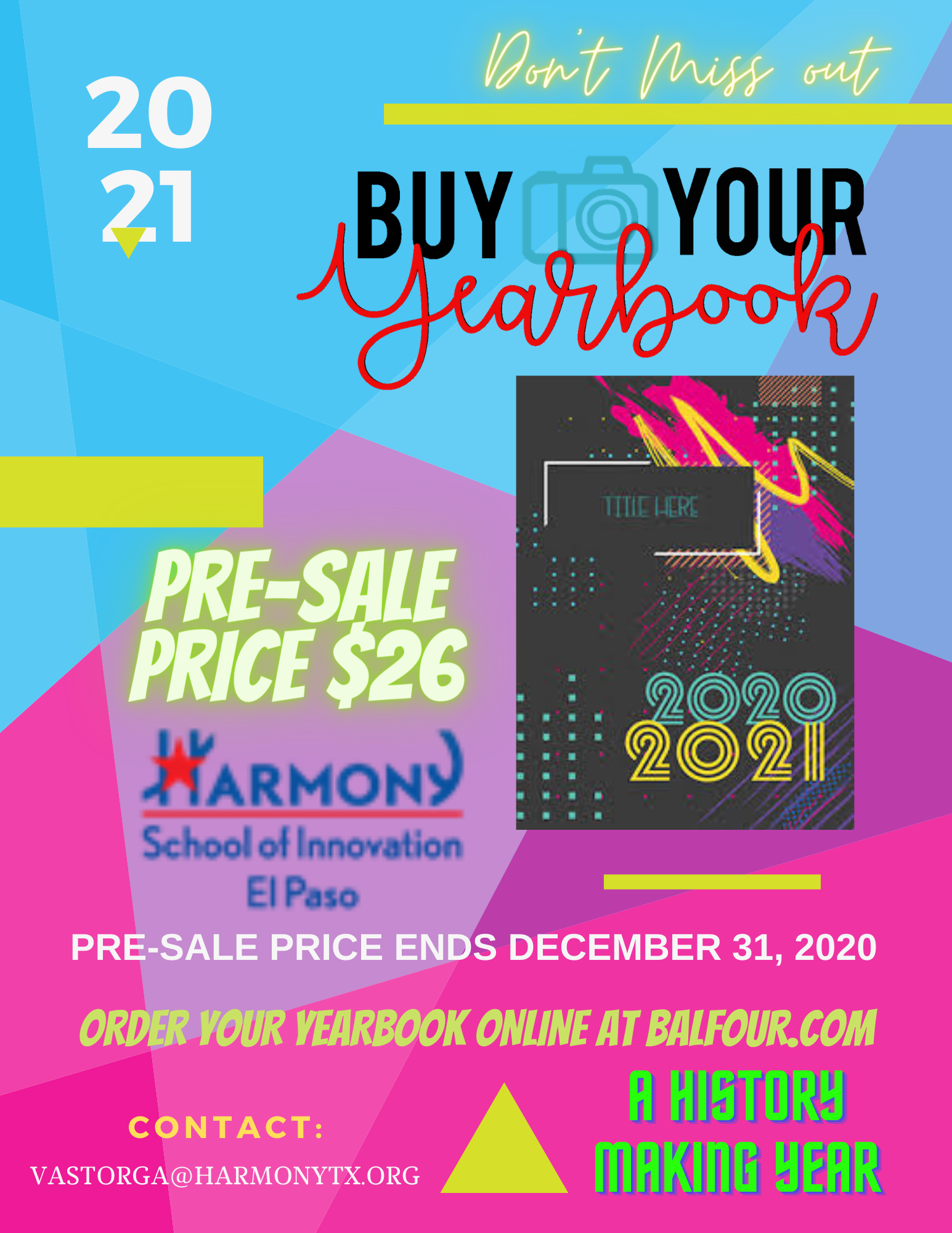 An image of the 2020-21 Yearbook Pre-Sale Flyer