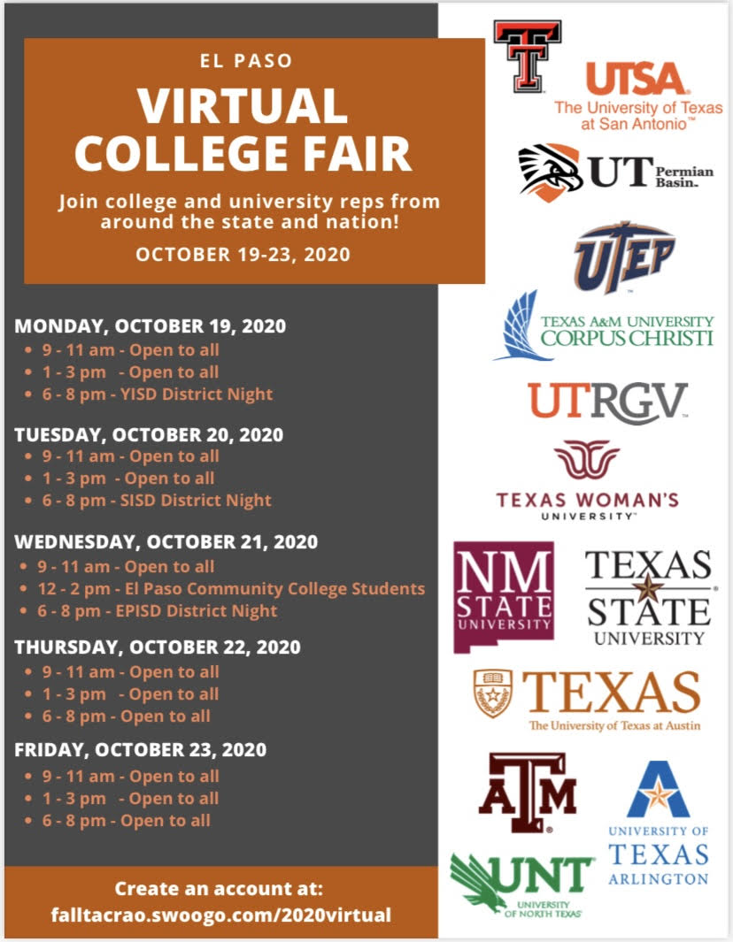 An image of a flyer regarding a Virtual College Fair that is available for the El Paso community.