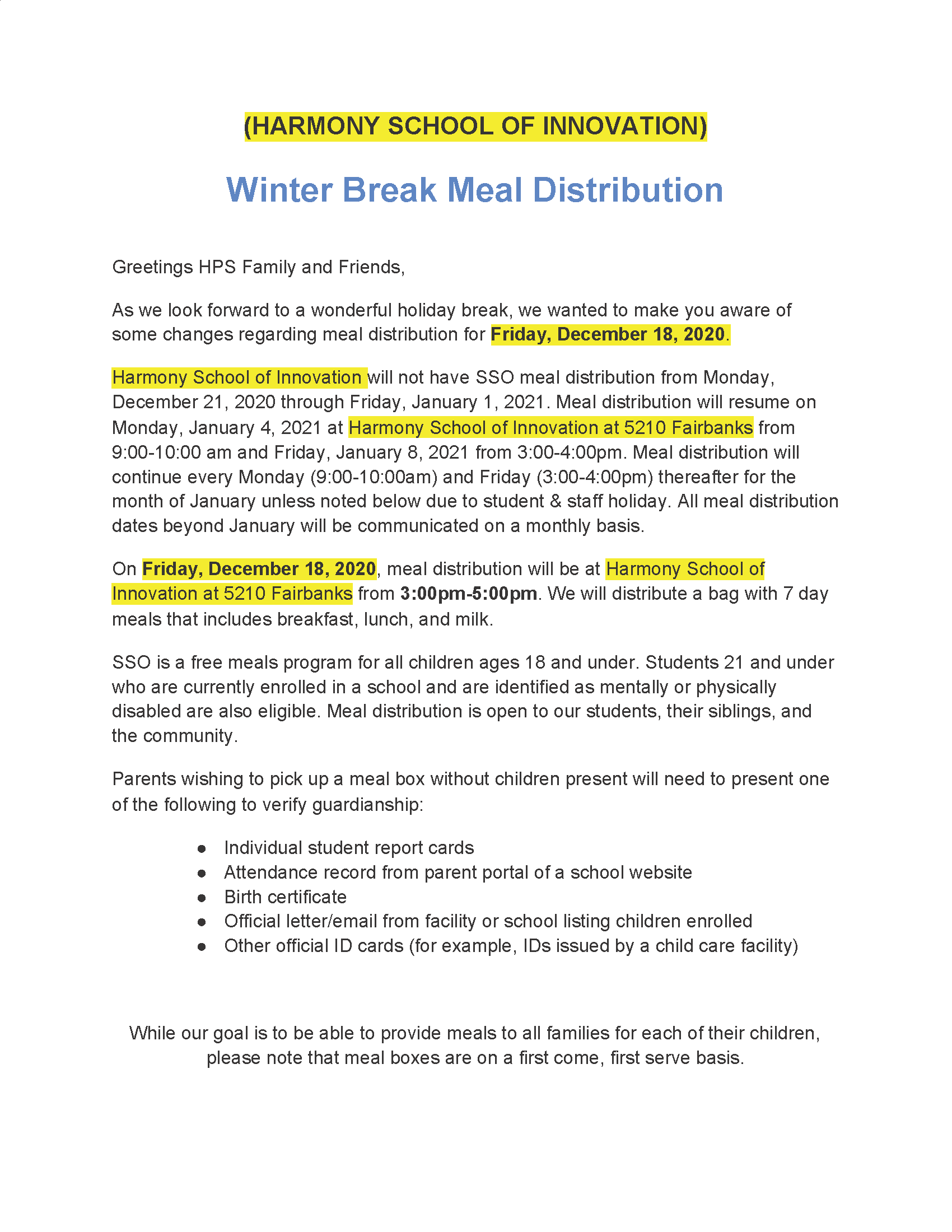 An image of the Winter Break Meal Distribution letter, page 1