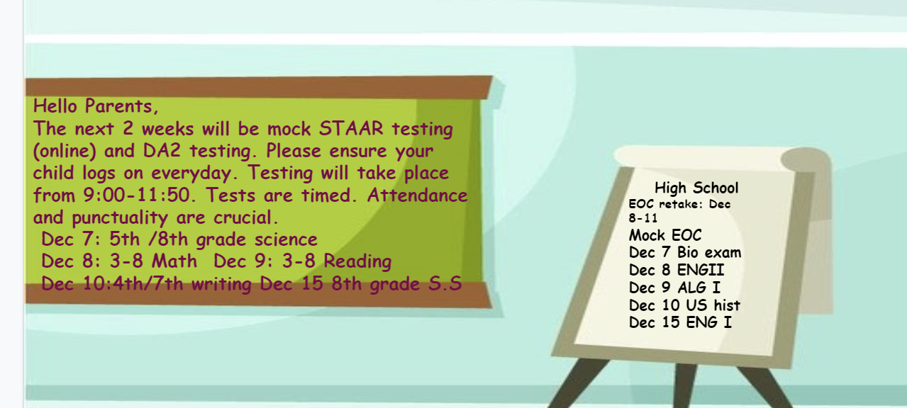 An image of the Mock STAAR and DA2 online testing flyer