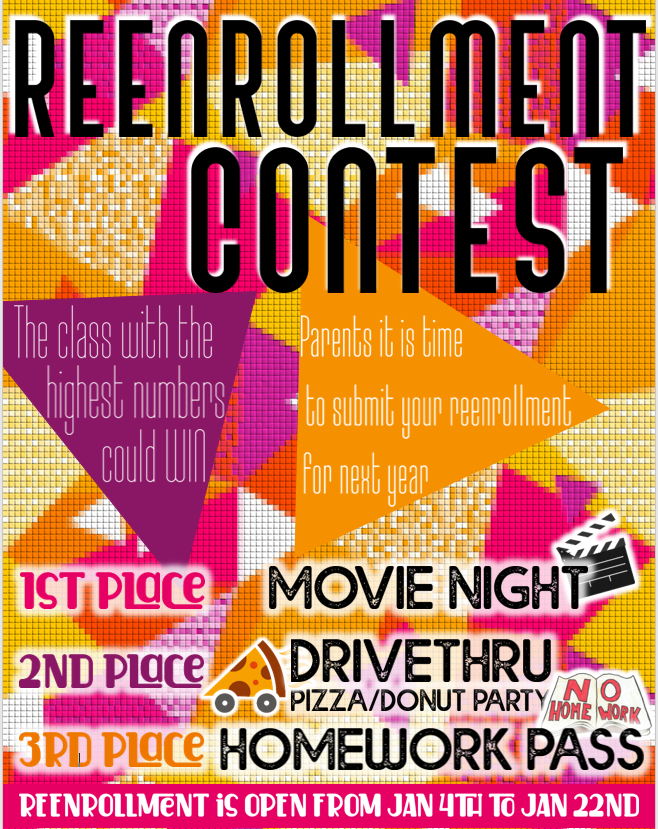 An image of the re-enrollment contest flyer.