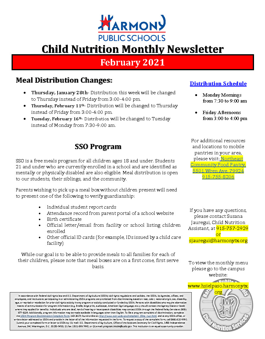 An image of the Child Nutrition Monthly Newsletter for February 2021