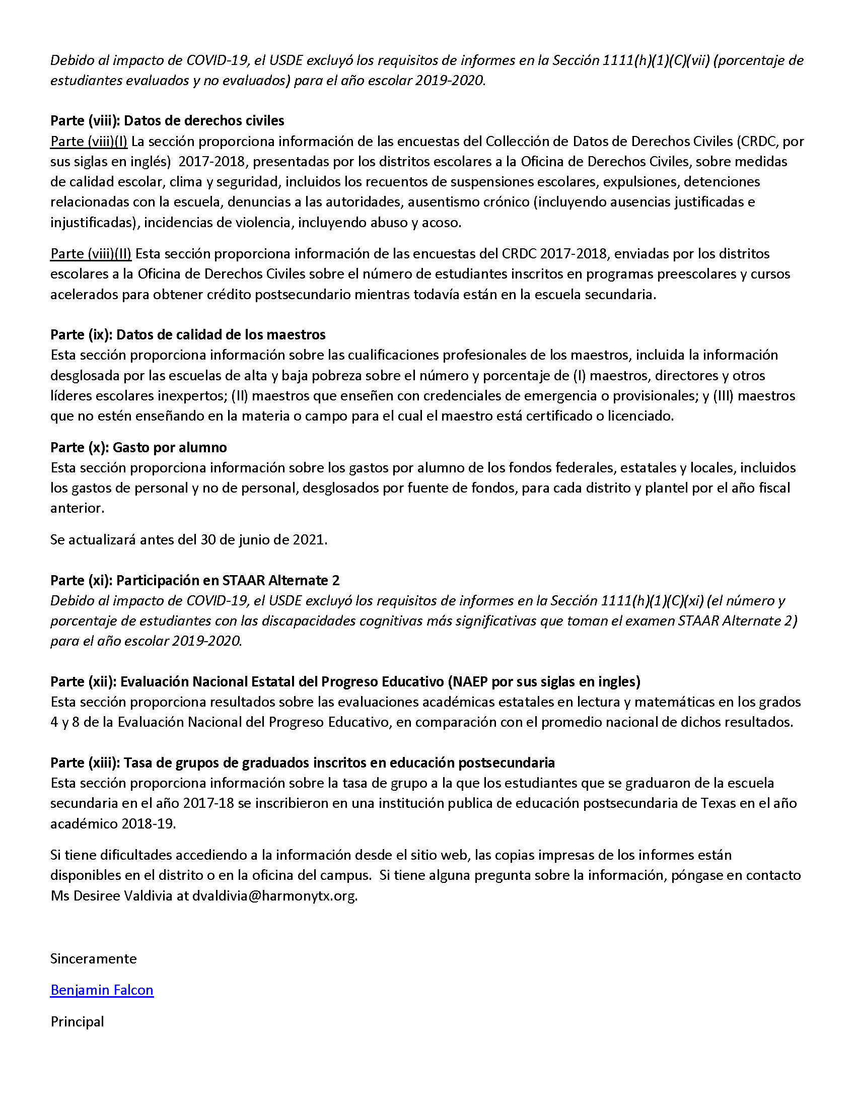An image of the HSI Parent Notification Letter Federal Report Card in Spanish