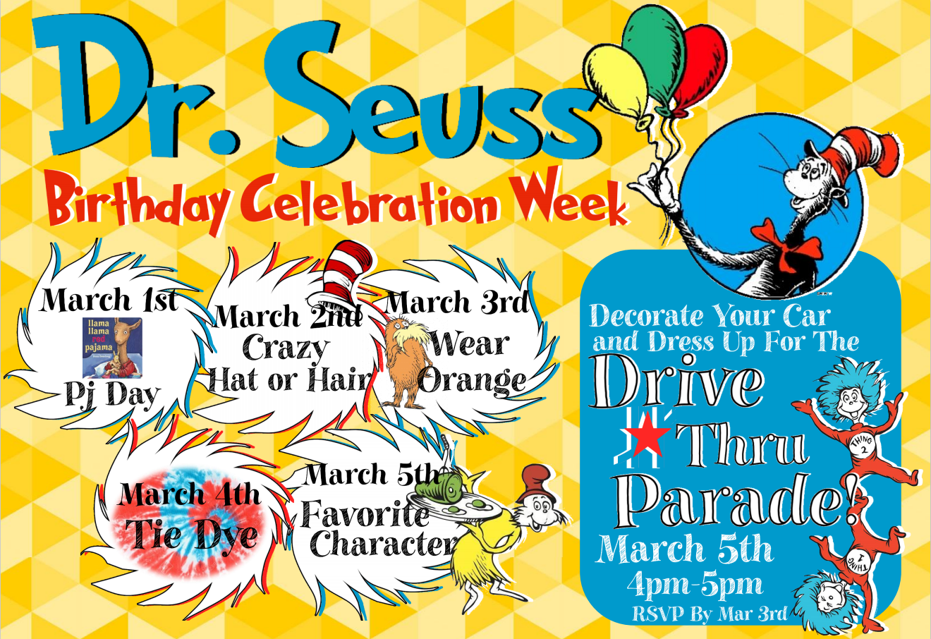 An image of the Dr. Seuss Birthday Celebration Week flyer