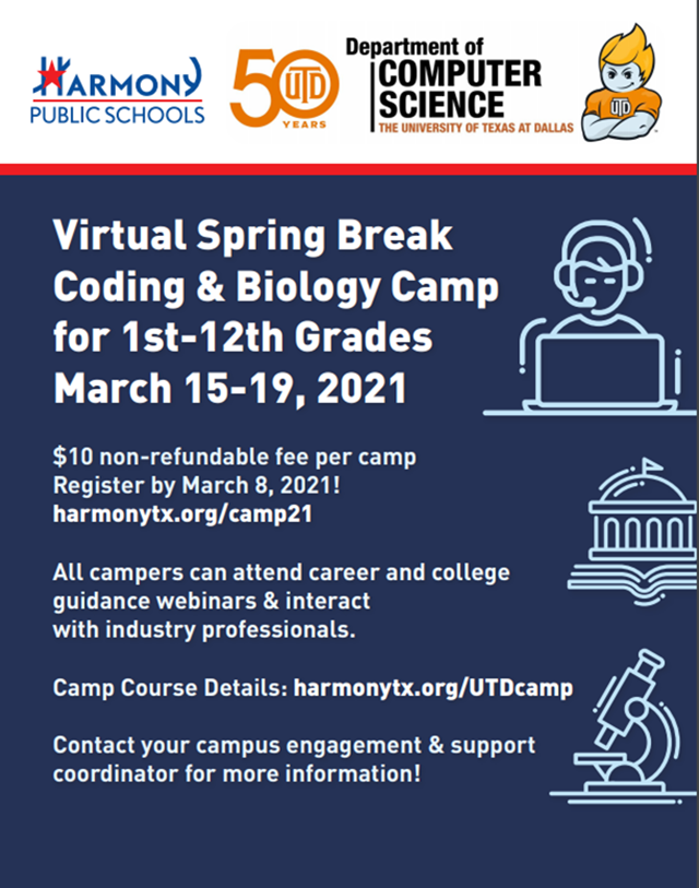 An image of the 2021 Virtual Spring Break Coding & Biology Camp flyer