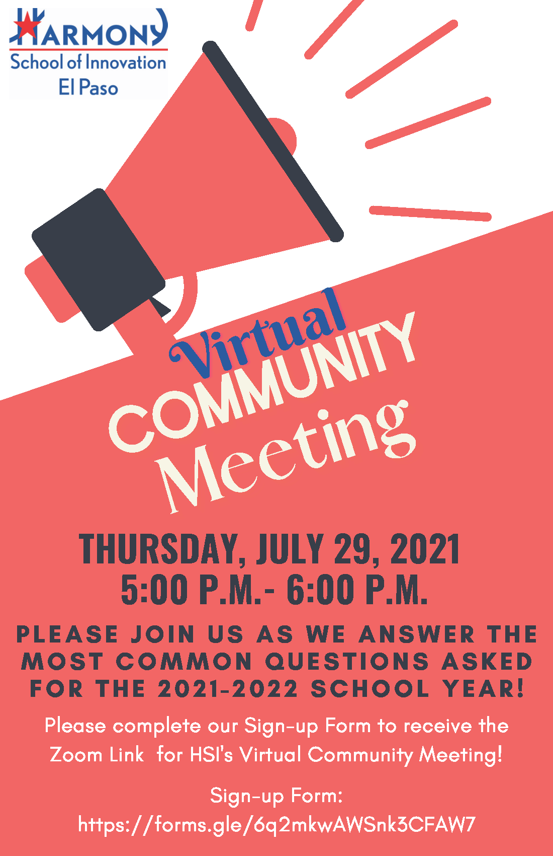 An image of the Virtual Community Meeting flyer