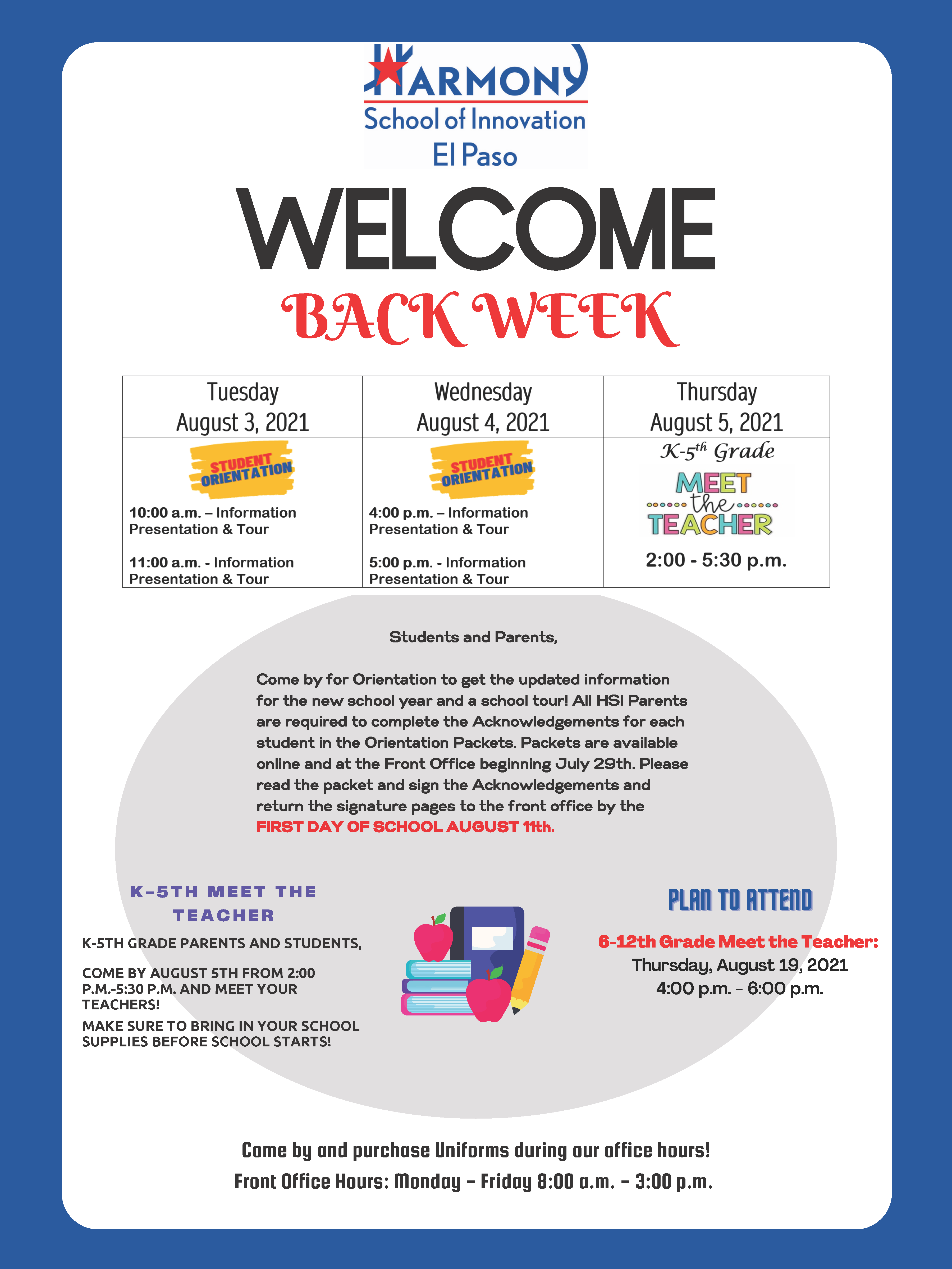An image of the Welcome Back Week Orientation flyer