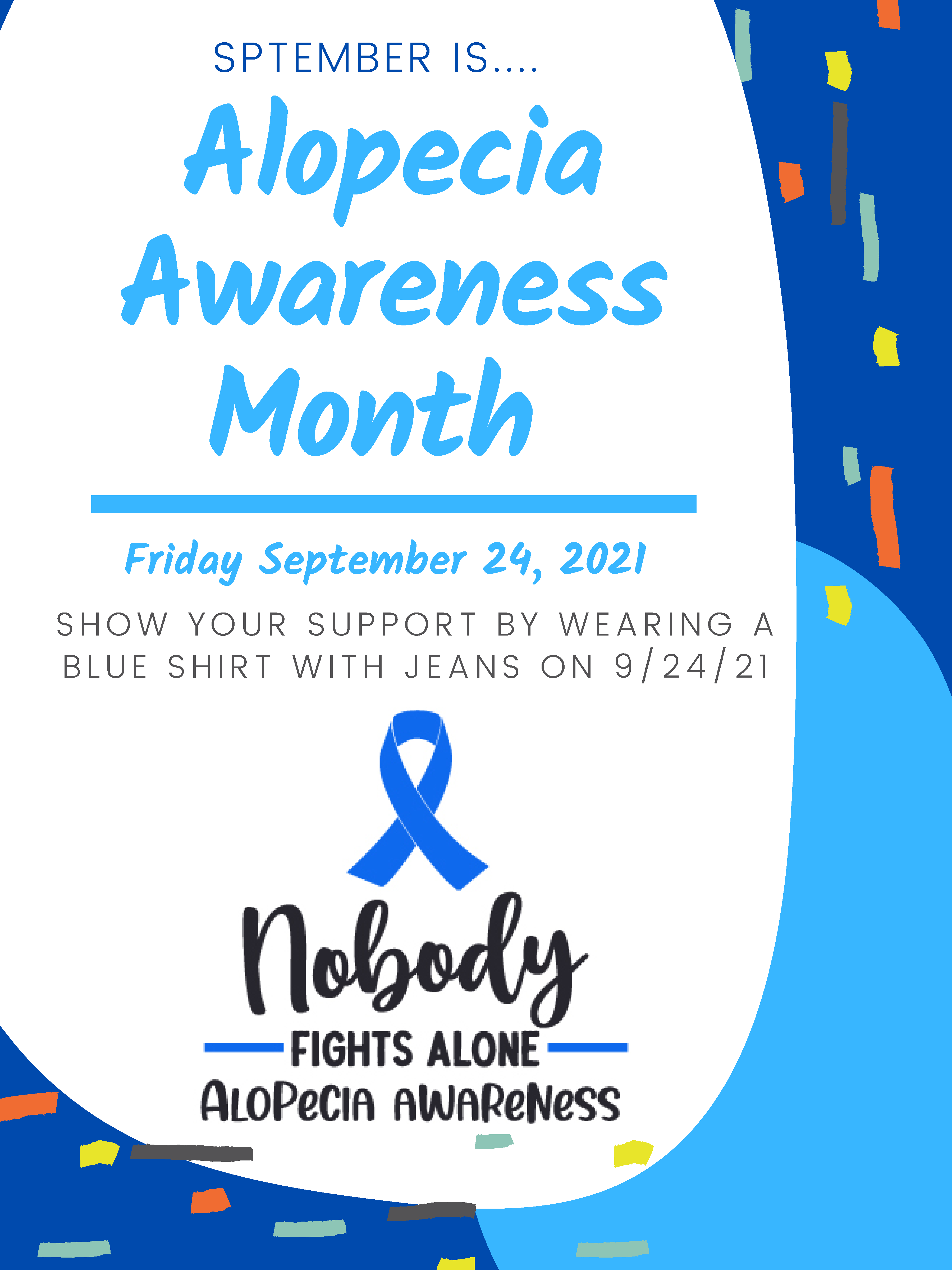 An image of the Alopecia Awareness Month Flyer.