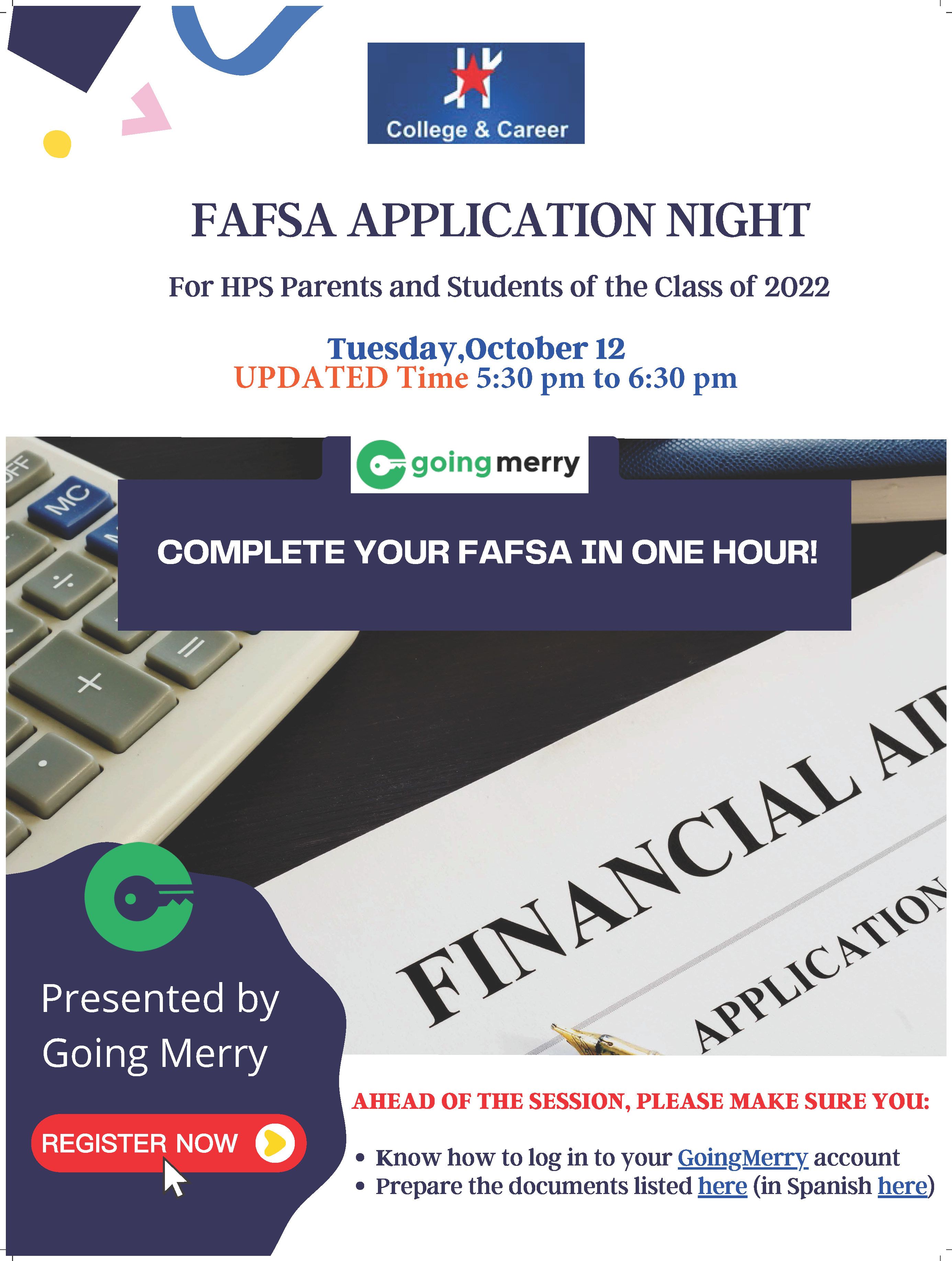 An image of the FAFSA Night flyer.