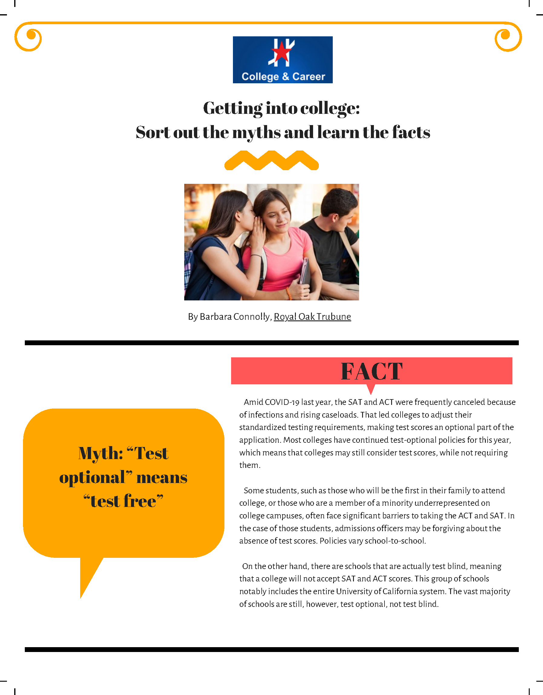 An image of page 1 of the Getting Into College Flyer