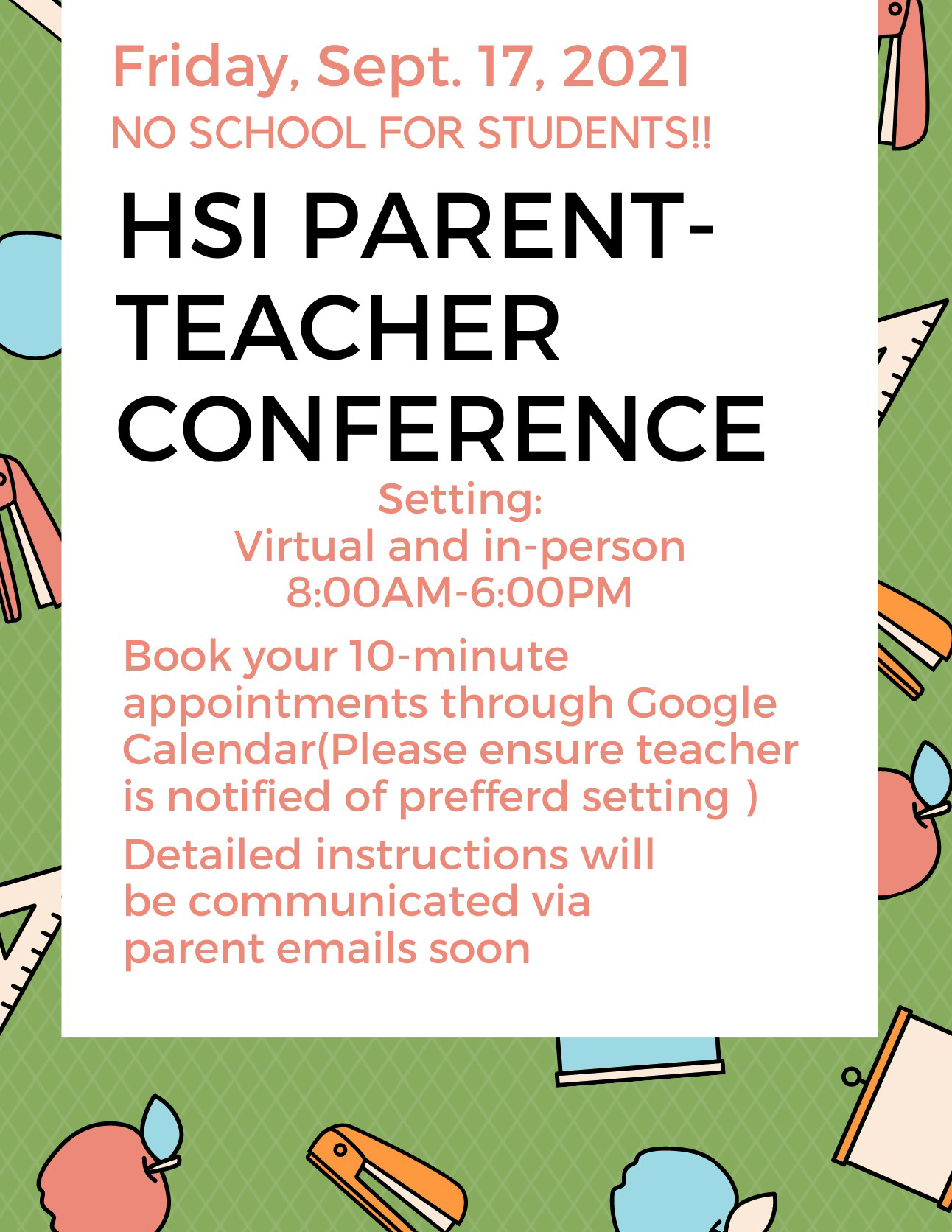 An image of the Sept 17, 2021 Parent Teacher Conference flyer