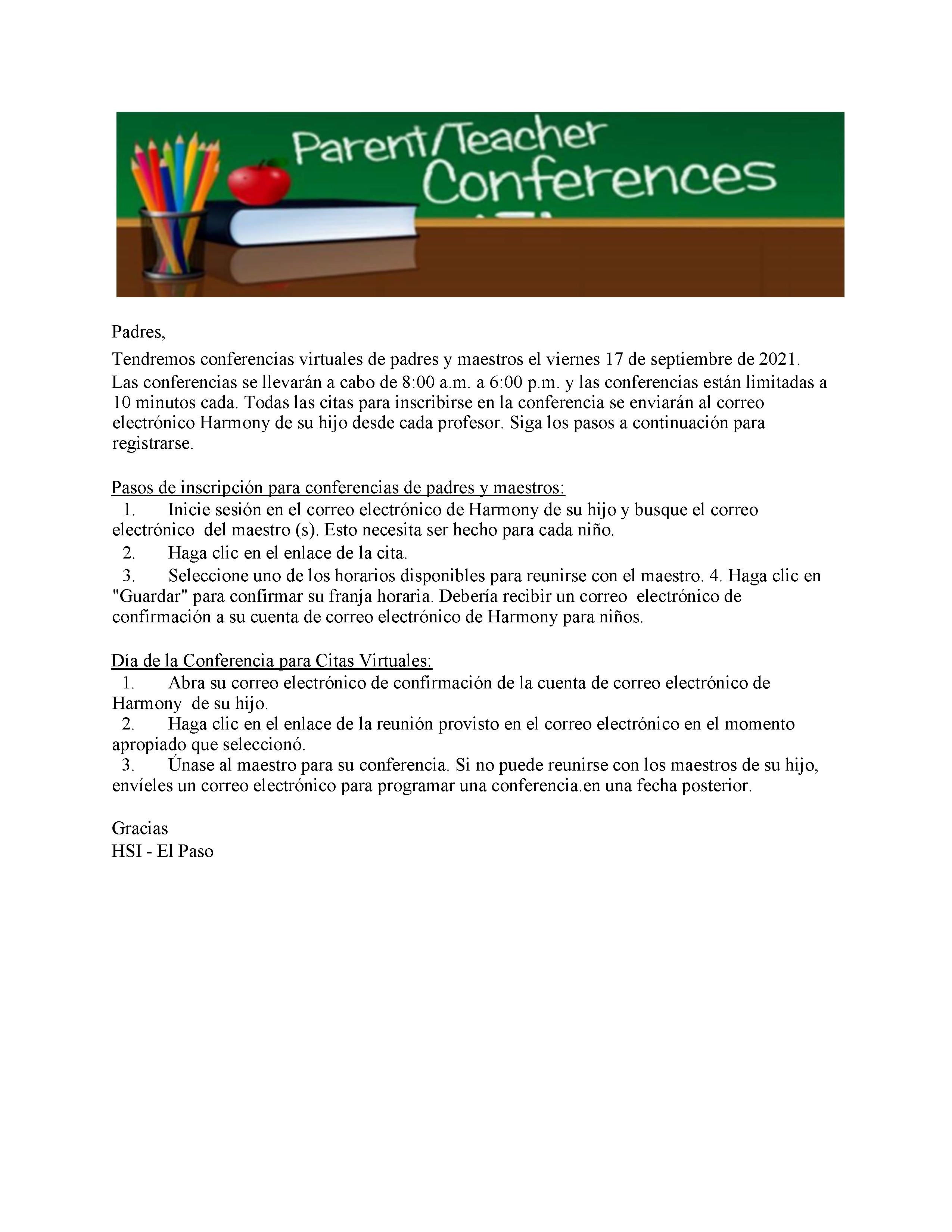An image of the Sept 17, 2021 Parent Teacher Conference Instruction flyer in Spanish