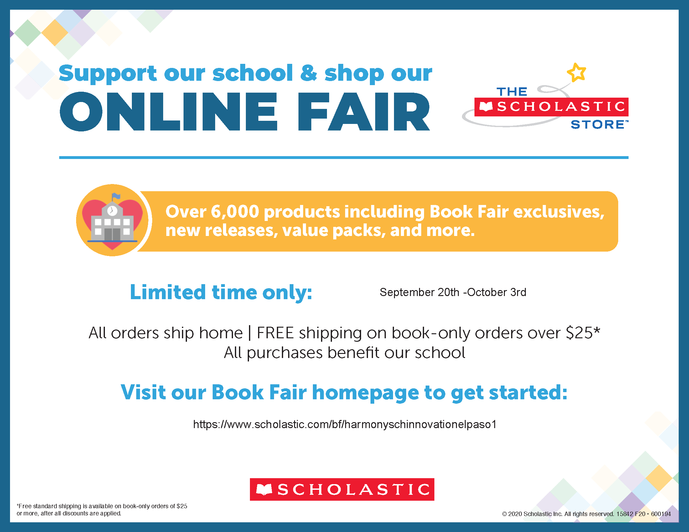 An image of the Virtual Book Fair flyer from September 20th - October 3rd.