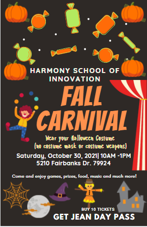 An image of the Annual Fall Carnival flyer held on Saturday, October 30, 2021 from 10am to 1pm