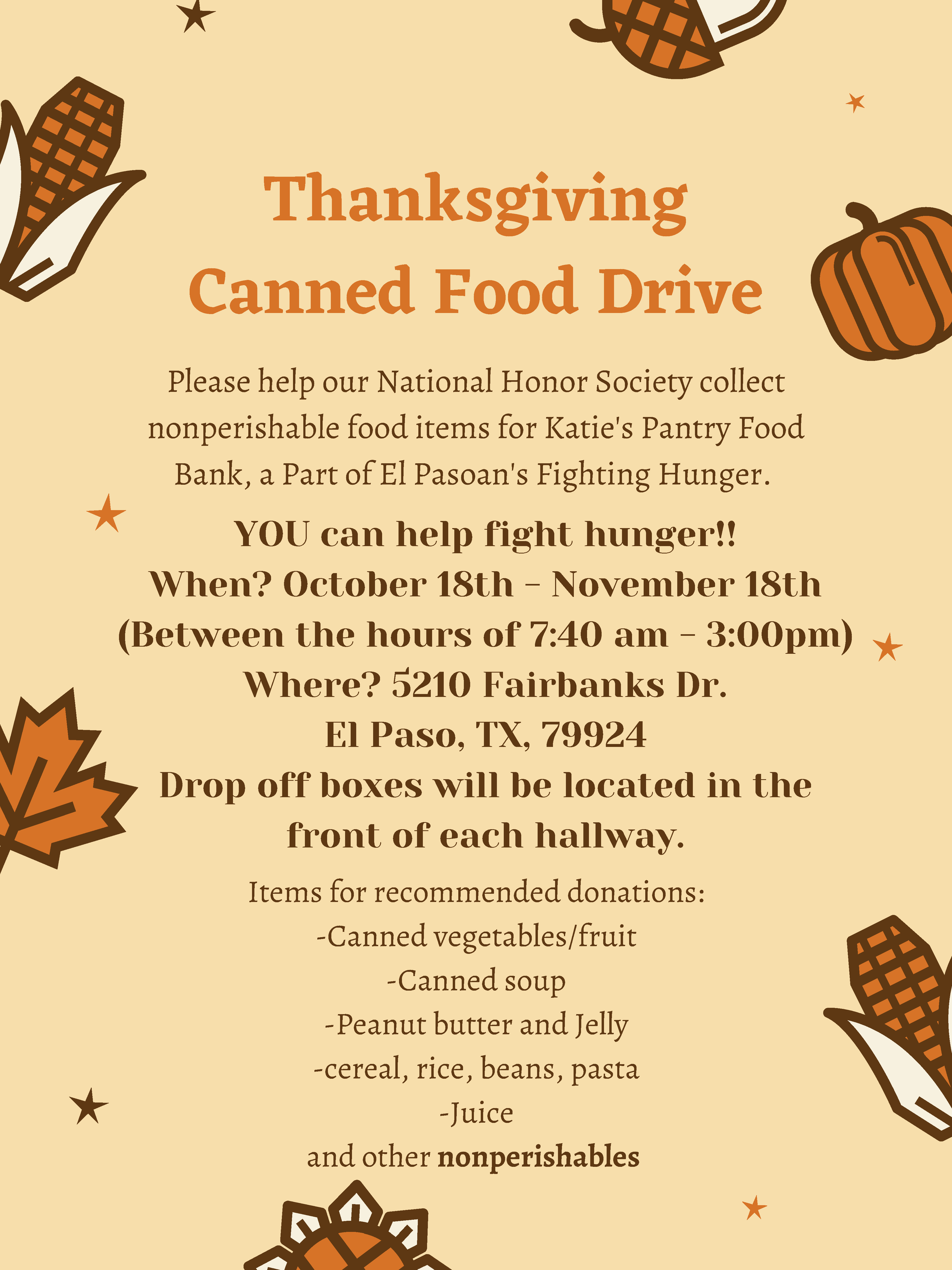 An image of the Thanksgiving Canned Food Drive flyer